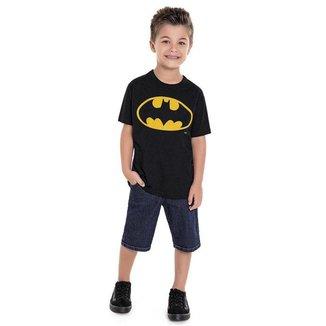 Camiseta Infantil Masculina Batman Fakini - PRETO - 8