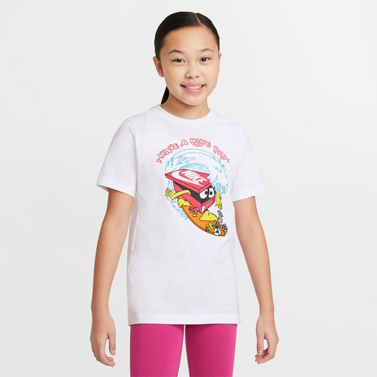 Camiseta Infantil Nike U NSW Tee Day Wave - Branco