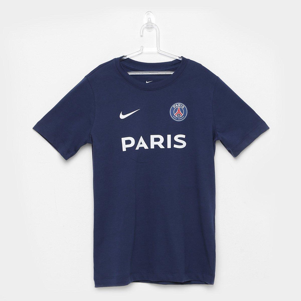 sneakers for cheap 75483 cf70a Camiseta Infantil Paris Saint-Germain Nike Core Match - Marinho