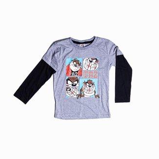 Camiseta Infantil Personagem Taz Mania, De Manga Longa Besni Masculina