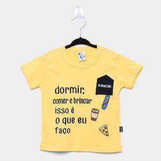 Camiseta Infantil Pulla Bulla Bolso Inverso Diversão Manga Curta