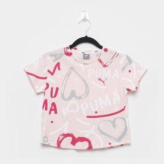 Camiseta Infantil Puma Alpha AOP Manga Curta Feminina