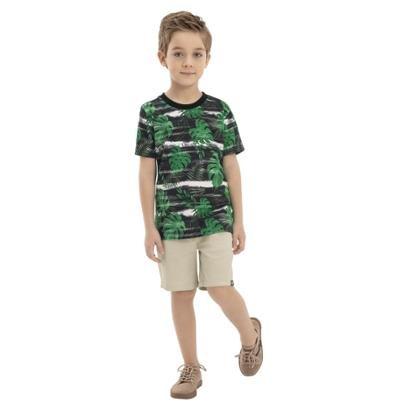 Camiseta Infantil Quimby Meia Malha Tropical Masculina