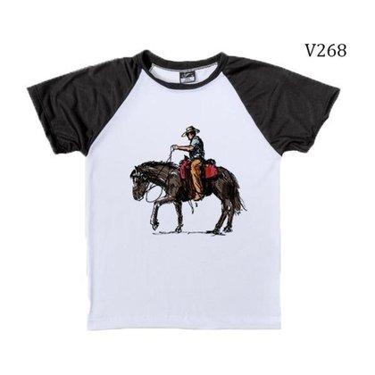 Camiseta Infantil Raglan Country Cavalo E Vaqueiro V268