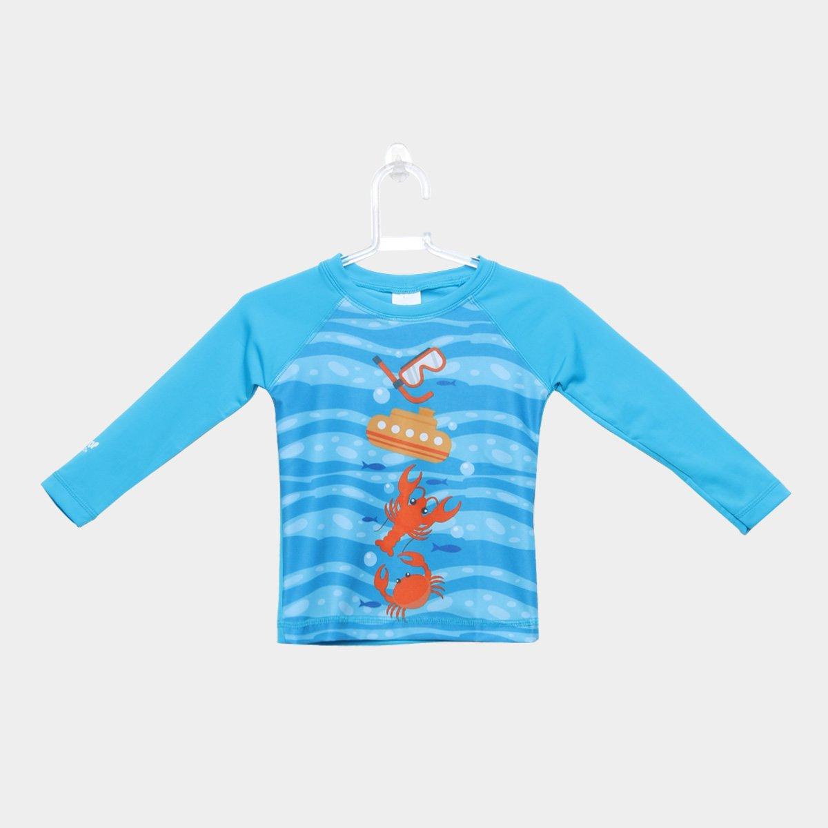 21a34fa9a6b1b Camiseta Infantil Tip Top Praia Estampada Manga Longa Masculina - Azul  Turquesa - Compre Agora