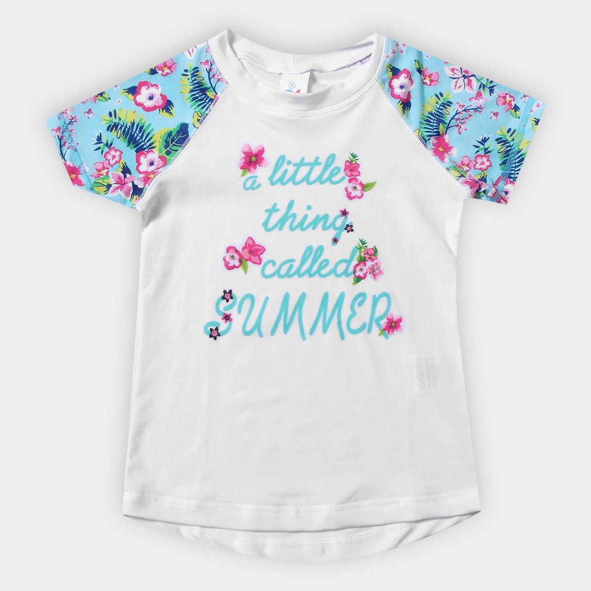 5c089411ac638 Camiseta Infantil Tip Top Summer Flower Proteção UV Feminina - Azul Claro e  Branco - Compre Agora