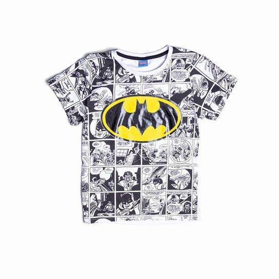 Camiseta Juvenil Batman Estampa História em Quadrinhos Masculino - Branco