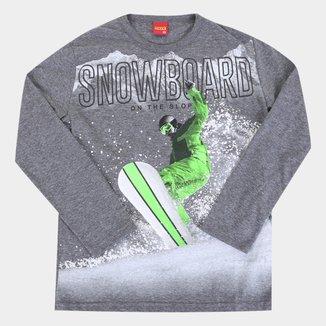 Camiseta Juvenil Kyly Snowboard Manga Longa
