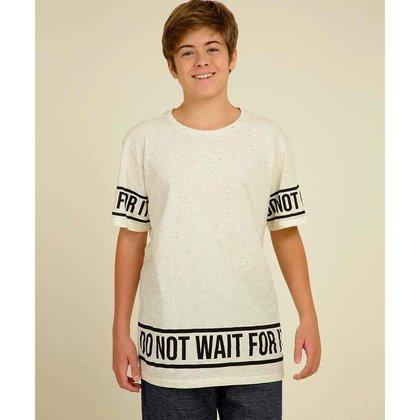 Camiseta Juvenil Mescla Manga Curta Estampa Frontal MR Tam 10 A 16 - 10046545022