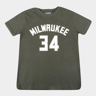 Camiseta Juvenil Milwaukee Bucks Giannis Antetokounmpo NBA Masculina