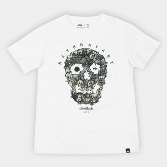 Camiseta Juvenil Natural Art Jungle Skull