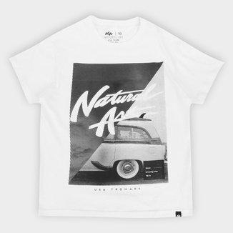 Camiseta Juvenil Natural Art Logo And Car