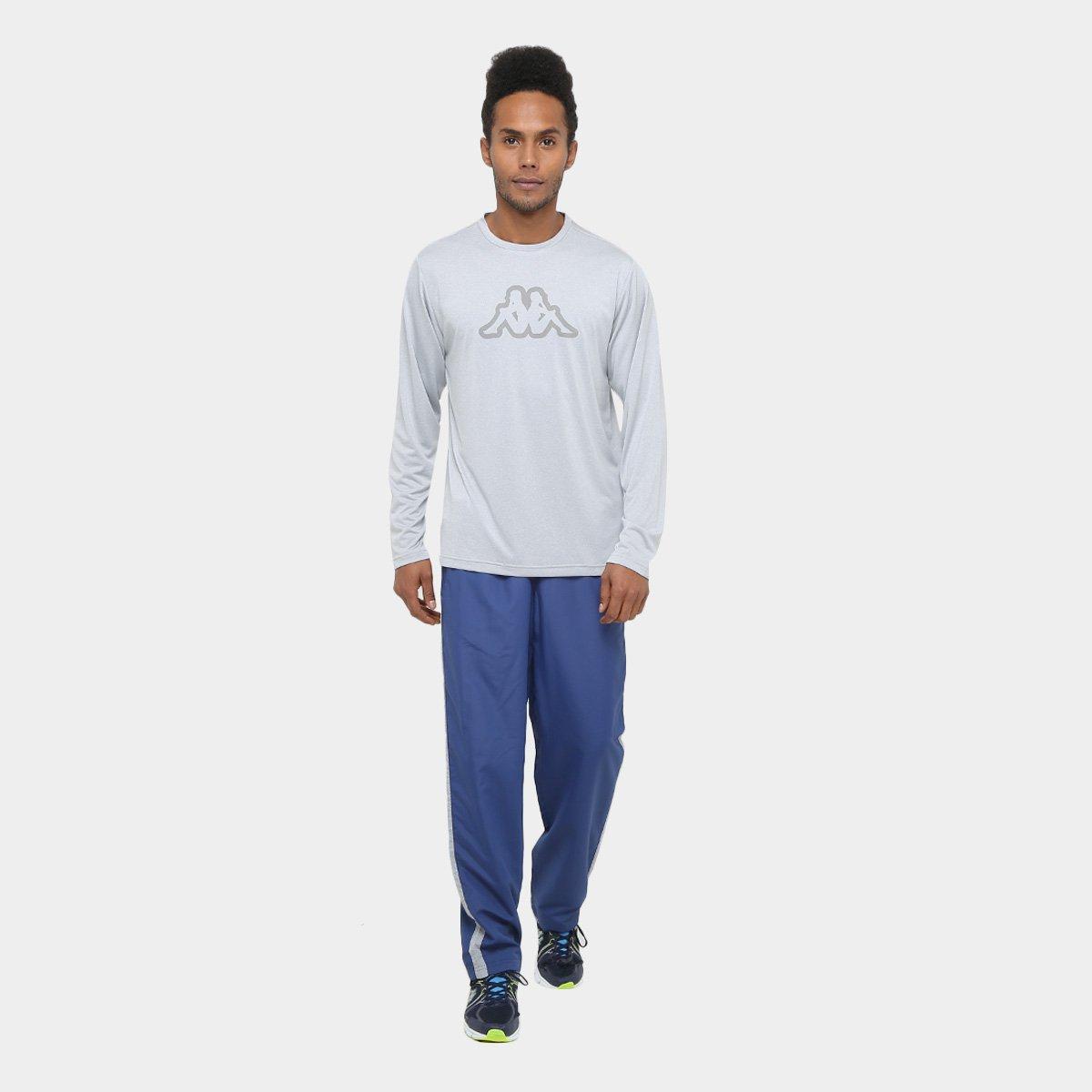 Camiseta Kappa Nassiri Manga Longa Masculina - Cinza - Compre Agora ... 9019e4d1387eb