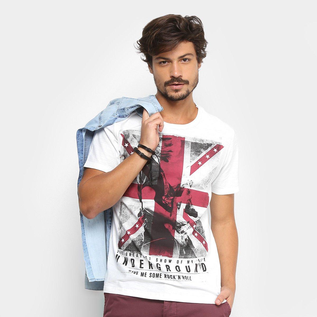 4099cc78db Camiseta Kohmar Rock Bandeira Masculina - Branco - Compre Agora ...