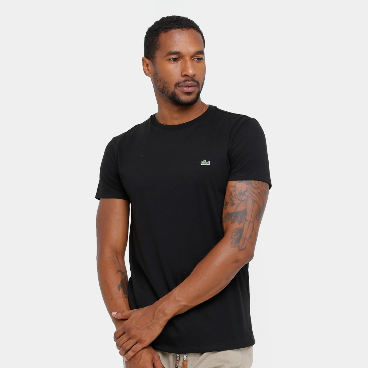 6ded641d0a2 Camiseta Lacoste Básica Jersey Masculina - Preto - Compre Agora ...