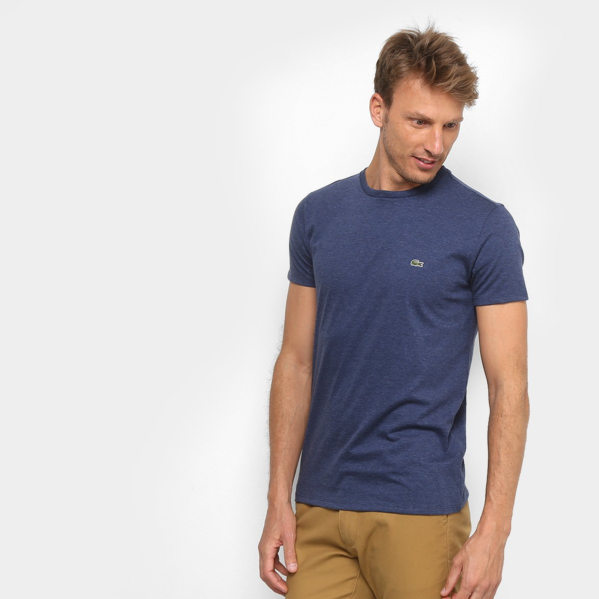 30af695dff18f Camiseta Lacoste Básica Jersey Masculina - Azul Escuro - Compre Agora