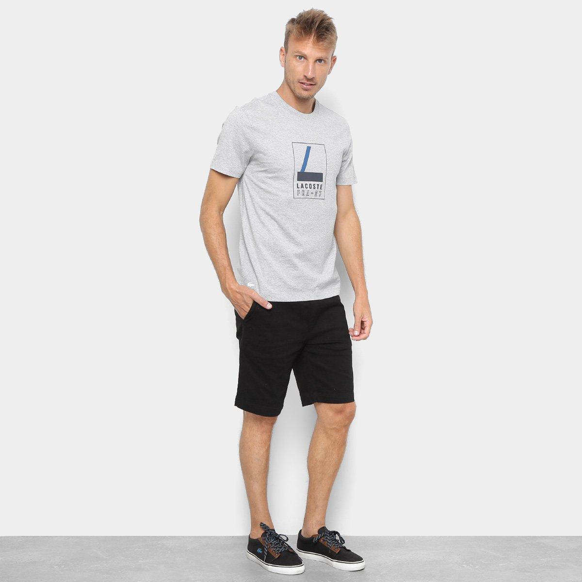 74fc1f77d8c Camiseta Lacoste Estampada Masculina - Cinza Claro - Compre Agora ...