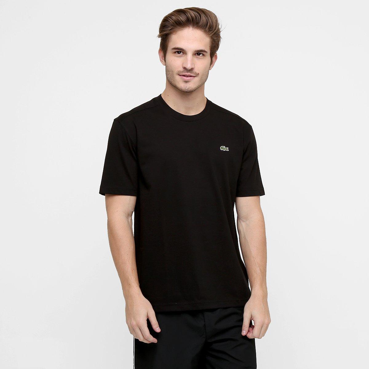 0acbf999c56a6 Camiseta Lacoste Gola Careca - Preto - Compre Agora   Netshoes