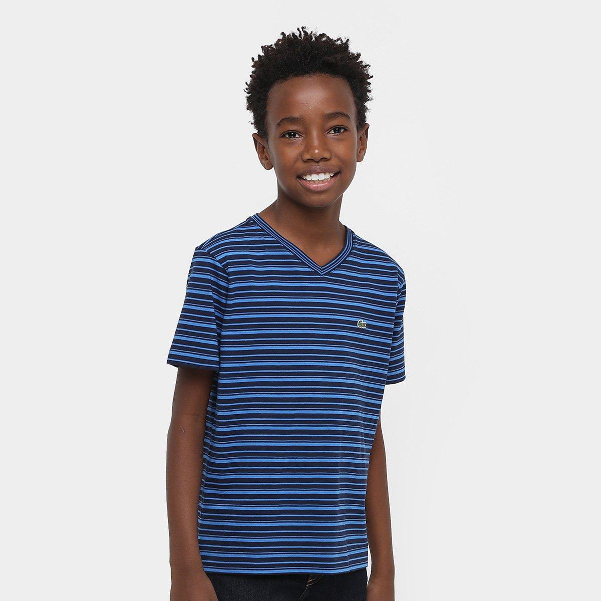 b452b634caa Camiseta Lacoste Gola V Listrada Infantil - Compre Agora