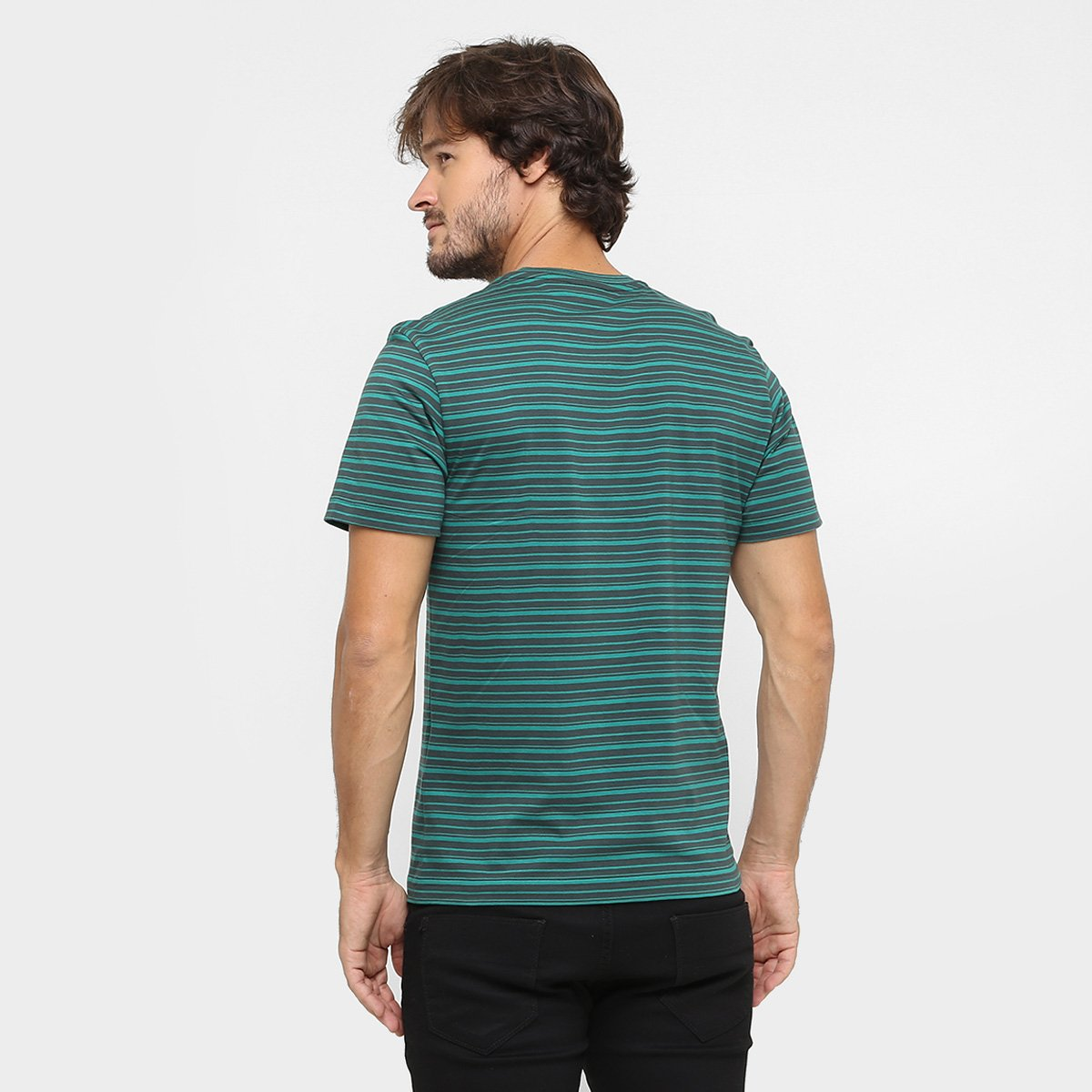 Camiseta Lacoste Gola V Listrada - Compre Agora   Netshoes dd7256bf0d