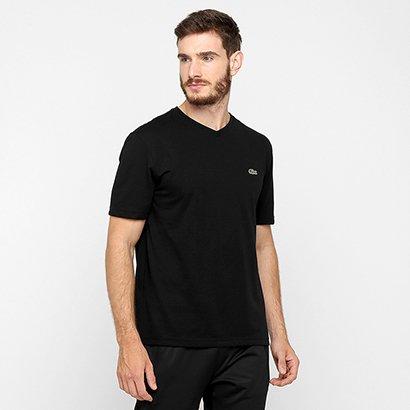 Camiseta Lacoste Gola V Masculina - Masculino - Preto