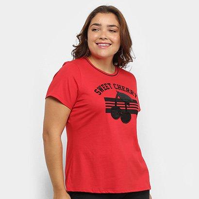 Camiseta Lecimar Sweet Cherry Plus Size Feminina