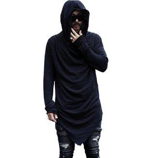 Camiseta Longa Masculina Oversized Com Gola Capuz  MonsterC23