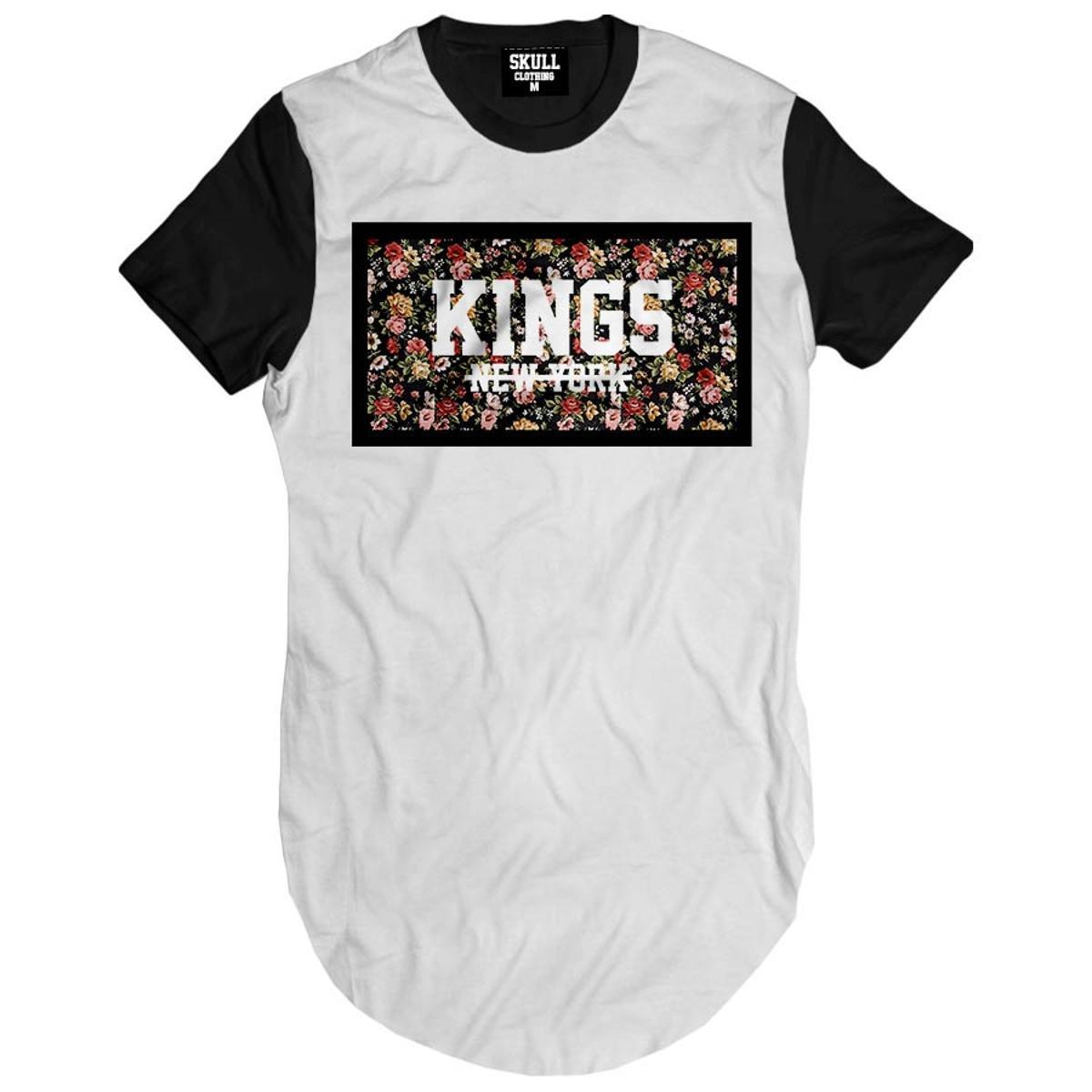 Camiseta Longline Kings New York Floral Masculina - Branco - Compre Agora  f8ee804ab87