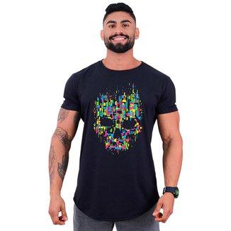 Camiseta Longline Manga Curta MXD Conceito Caveira Abstrata   Masculina