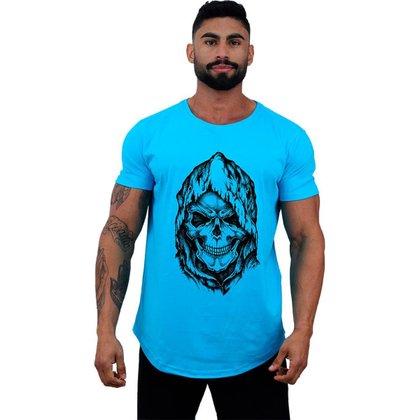 Camiseta Longline MXD Conceito Caveira Com Capuz Masculina