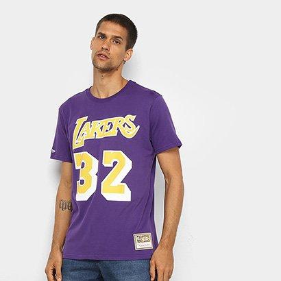 Camiseta Los Angeles Lakers Johnson 32 Mitchell & Ness Masculina - Masculino