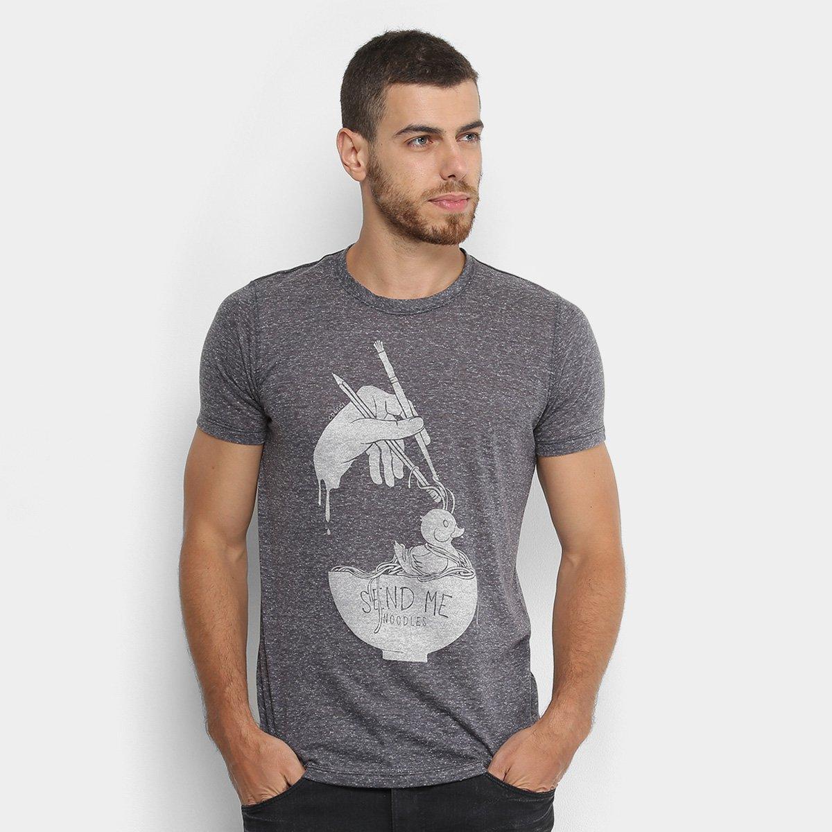 0eb0c31808 Camiseta Manga Curta Colcci Estampada Masculina - Preto - Compre ...