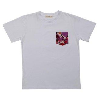 Camiseta Manga Curta Infantil Menino Fredie Mon Petit com bolso Flower.