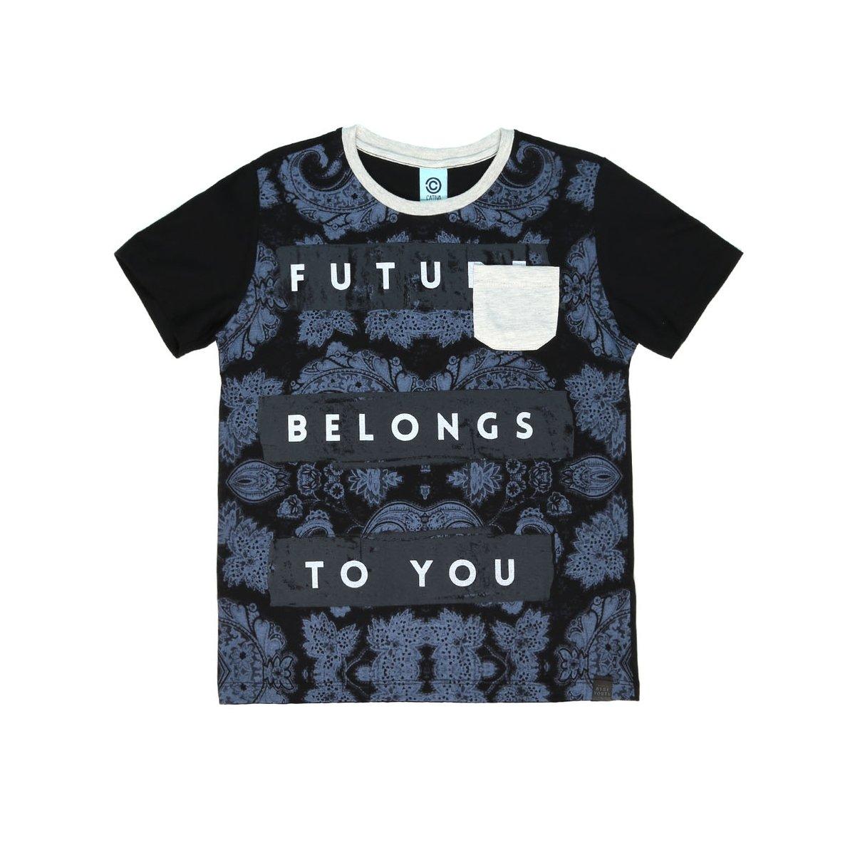 Camiseta Manga Curta Juvenil Para Menino Cativa Preto - Compre Agora ... 886b202021c27
