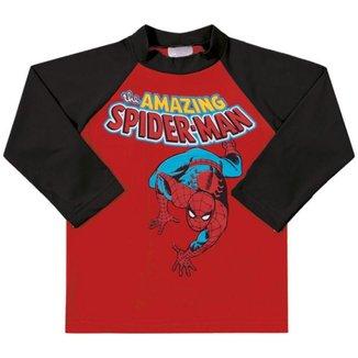 Camiseta Manga Longa Com Fator de Proteção Infantil Masculino Marlan Homem Aranha