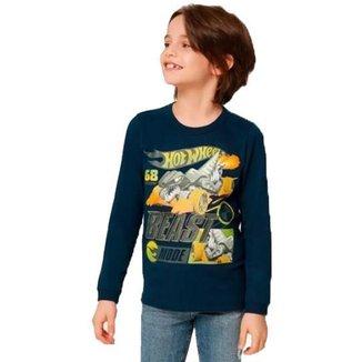 Camiseta Manga Longa Hot Wheels Masculino Malwee Kids