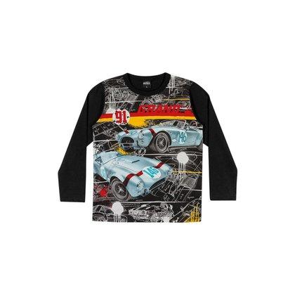 Camiseta Manga Longa Infantil Masculina Tema Carros - PRETO - 10