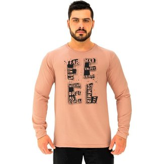 Camiseta Manga Longa Moletinho MXD Conceito Feel Sentimento Masculina