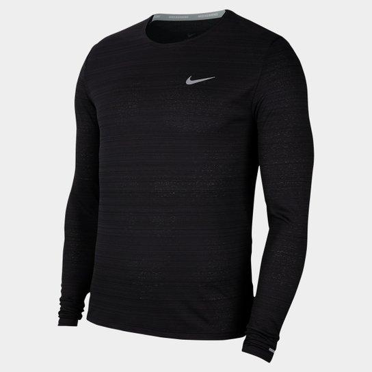 Camiseta Manga Longa Nike Dri-Fit Miler Masculina - Preto+Prata