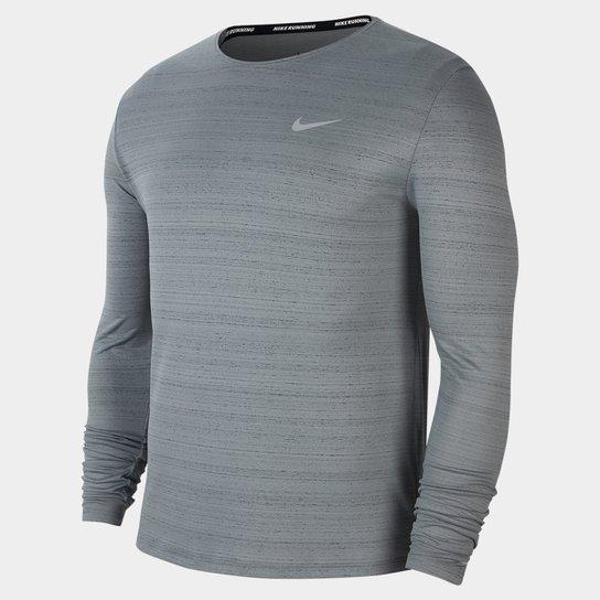 Camiseta Manga Longa Nike Dri-Fit Miler Masculina - Cinza+Prata