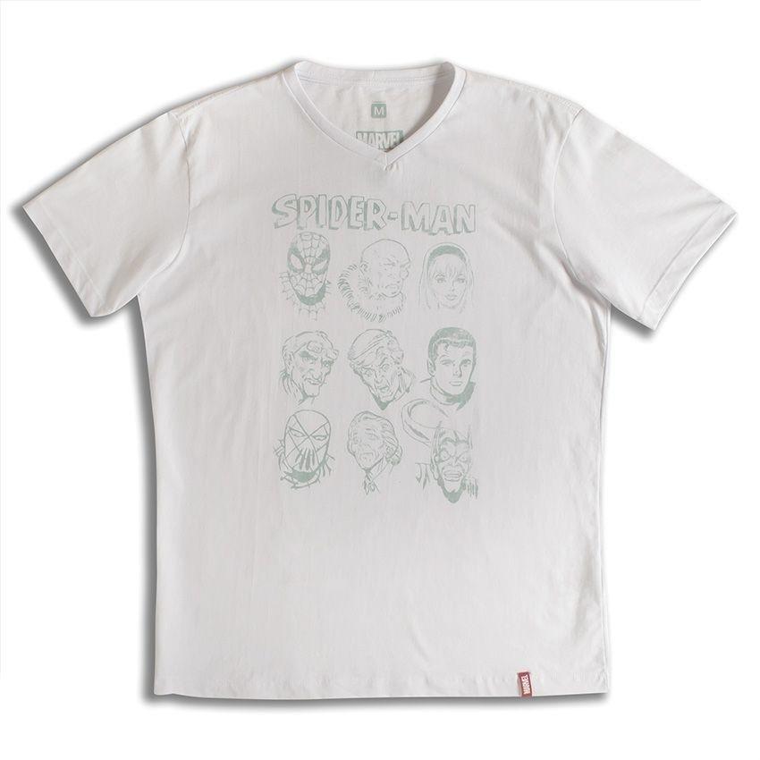 Marvel Camiseta Marvel Branco Homem Camiseta Rostos Aranha Rostos xtPOUp