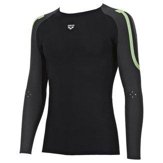 Camiseta Masc De Manga Longa Arena Carbon Compression Preto/Verde Tam GG