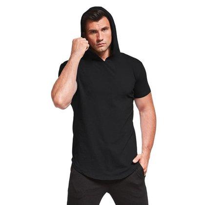 Camiseta Masculina Com Capuz Camisa Manga Curta Preta