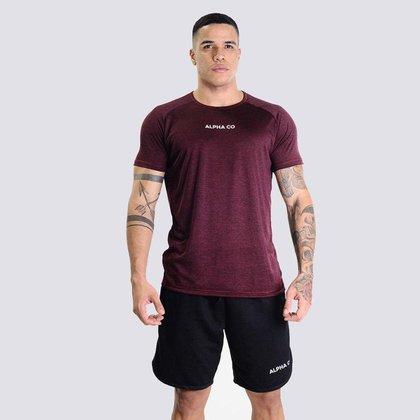 Camiseta Masculina Dry Fit Essential  Mescla Vinho Alpha CO
