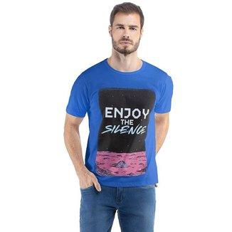 Camiseta Masculina Enjoy The Silence Malhas Treze - AZUL - M
