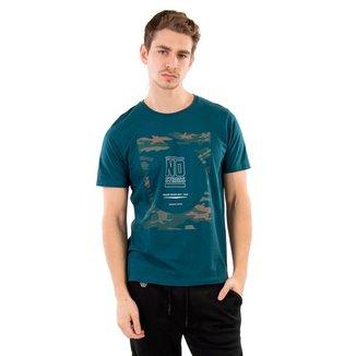 Camiseta Masculina Estampa Camuflada No Stress - VERDE - GG