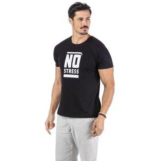 Camiseta Masculina Estampa No Stress - AZUL - G