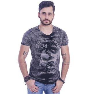 Camiseta Masculina Estonada e Estampada Preta  Base M