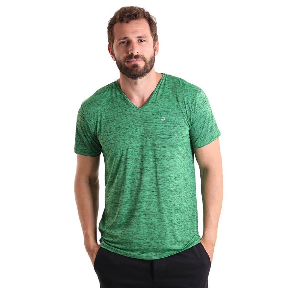 65ab5d878 Camiseta Masculina gola V Mescla - Verde - Compre Agora