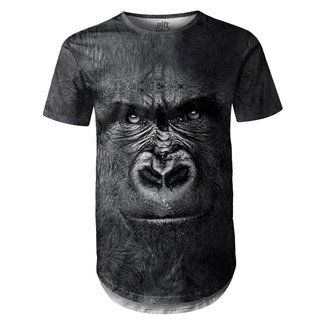Camiseta Masculina Longline Swag Big Face Gorila